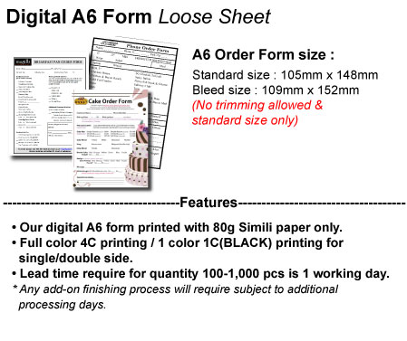 Acc Product Detail A6 Order Form Printing Agents Best Working Partner